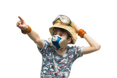 Little soldier with respirator Royalty Free Stock Photo