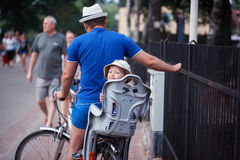 The little son with the father by bicycle Royalty Free Stock Images