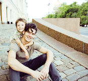 Little son with father in city hagging and smiling Stock Photos