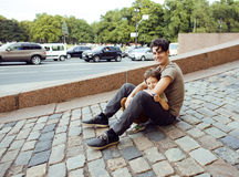 Little son with father in city Stock Image
