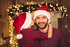 Little son hugging happy father royalty free stock photos