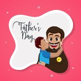 Little son kissing his father, Father`s Day text on pink backgro. Und royalty free illustration