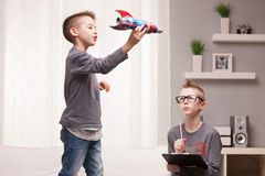 Little space rocket scientists experiments royalty free stock photo