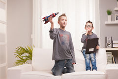 Little space rocket scientists experiments Stock Photos