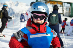 Little sportsman on ski resort Royalty Free Stock Images