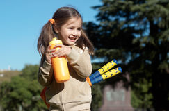 Little sportswoman in park Stock Image
