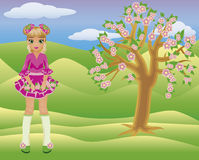 Little spring girl and seasons tree Royalty Free Stock Photos