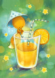 Little squirrel and orange juice. Vintage card on which the squirrel and orange juice is represented. Vintage invitation card for a holiday or birthday. Raster royalty free illustration