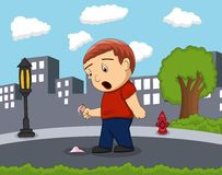 Little standing on the street with city boy surprised to see the ice cream fall background cartoon Royalty Free Stock Photography