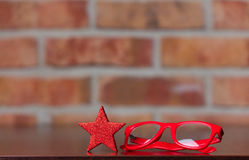 Little star and glasses Royalty Free Stock Images