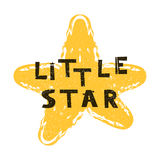 Little star. Hand drawn style typography poster.   Stock Image