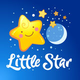 Little Star lettering and the starry sky. Vector illustration Stock Photos