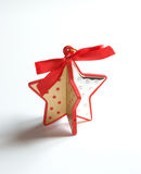 Little star of shaped wood and decorate silver Royalty Free Stock Photo