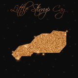 Little Stirrup Cay map filled with golden glitter. Stock Photos
