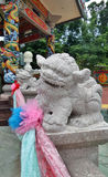 Little stone Chinese lion sculpture Royalty Free Stock Photos