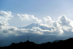 The little streak of white is Mount Etna, in fact Royalty Free Stock Photo