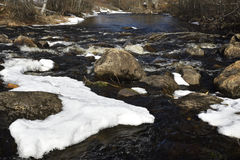 Little stream in the forest with some ice left from the winter. Picture from the North of Sweden Stock Images