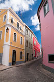 Little street with colored houses in the South of Europe Stock Photography