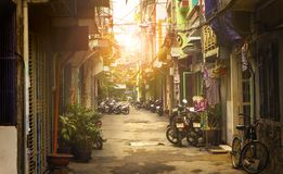 Little street of Ho Chi Minh city, Vietnam.  stock images