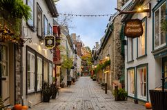Little street of Rue du Petit-Champlain in Old Quebec city, Quebec, Canada stock image