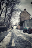 Little street in winter in Montmartre, Paris, France Royalty Free Stock Photography