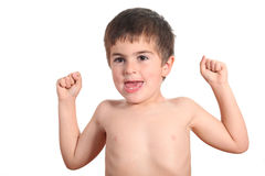 Little strong man with muscles Royalty Free Stock Photography