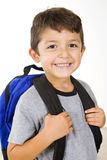 Little student. Little boy with his book bag Stock Photo