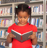 Little student with a book reading Stock Photography