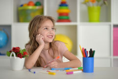 Little student girl at art class Stock Photo