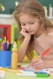 Little student girl at art class Stock Photo