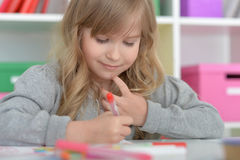 Little student girl at art class Stock Photography