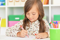 Little student girl at art class Royalty Free Stock Images
