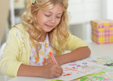 Little student girl at art class Royalty Free Stock Photos
