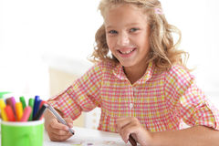 Little student girl at art class Royalty Free Stock Photo