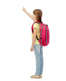 Little student girl with school bag from back Stock Photo