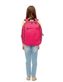 Little student girl with school bag from back Royalty Free Stock Photos
