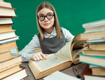 Little student girl studying at school Royalty Free Stock Photo