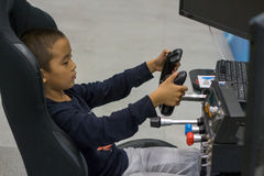 Little student in technical operation training Stock Image