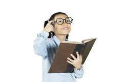 Little student thinking idea with book Royalty Free Stock Image