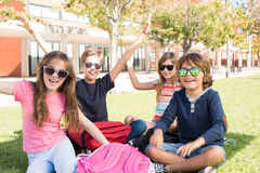Little students at School Campus stock image