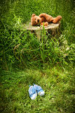 Little stuff teddy bear laying on a stump Royalty Free Stock Image