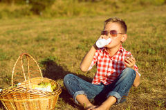 Little stylish boy in sunglasses is drinking yogurt on the meadow. Little stylish kid in sunglasses is sitting near the basket with grapes on the meadow drinking Stock Photography