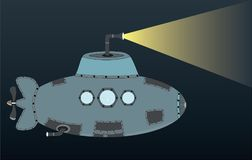 Little Submarine Alone in Deep Seas Illustration. Little Submarine Alone in Deep Seas with a light on it, EPS file included, can be used as a 2D game character Royalty Free Stock Images