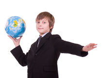 Little successful schoolboy with globe Stock Images