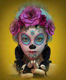 Little Sugar Skull Girl, 3d CG. 3d computer graphics of a cute girl with sugar skull makeup Stock Photography