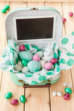 Little suitcase with easter nest Royalty Free Stock Photos