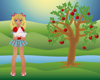 Little summer girl and seasons tree, vector Stock Images