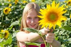 Little Sunflower Girl Royalty Free Stock Image