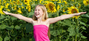 Little Sunflower Girl Royalty Free Stock Image