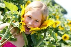 Little Sunflower Girl Stock Photos